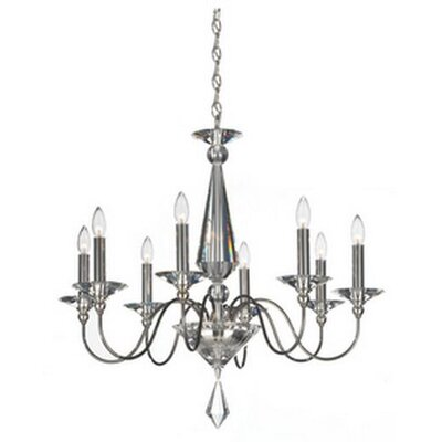 Jasmine 8-Light Candle-Style Chandelier Color: Silver, Crystal Color: Optic Clear