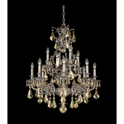 Sophia 12-Light Crystal Chandelier Base Finish: Antique Silver, Shade Color: Strass Golden Teak