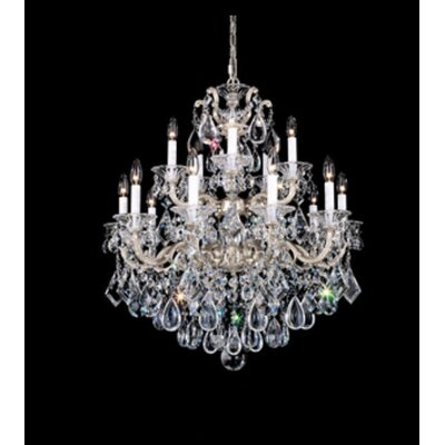 La Scala 15-Light Candle-Style Chandelier Finish / Crystal Color: Antique Silver / Swarovski Clear