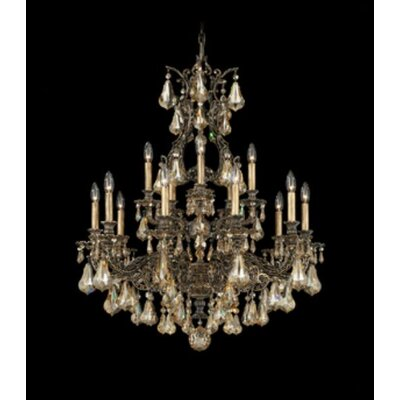 Sophia 15-Light Crystal Chandelier Finish: Midnight Gild, Crystal Color: Strass Golden Teak