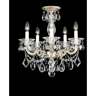 La Scala 5-Light Candle-Style Chandelier Finish / Crystal Grade: Antique Silver / Handcut Clear