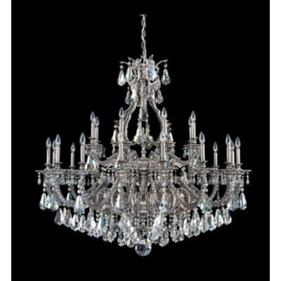 Sophia 24-Light Candle-Style Chandelier Finish: Antique Silver, Crystal Color: Strass Silver Shade