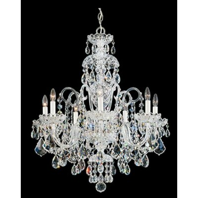 Olde World 7-Light Candle-Style Chandelier Color: Silver, Crystal Color: Spectra Swarovski