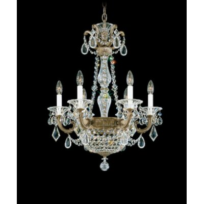 La Scala Empire 6-Light Candle-Style Chandelier Finish / Crystal Color: Antique Silver / Handcut Clear