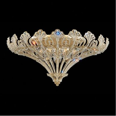 Rivendell 12-Light Flush Mount Finish: Antique Silver, Crystal Grade: Swarovski Spectra