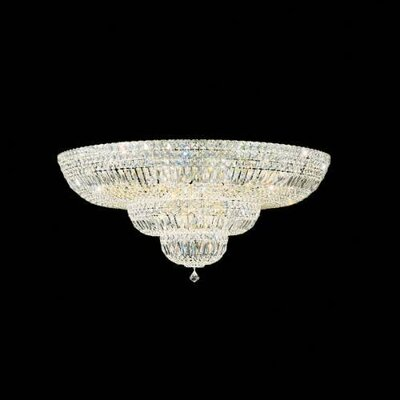 Petit Deluxe Down Light Flush Mount Size / Finish / Crystal Grade: 17 H x 36 W x 36 D / Silver / Gemcut Clear