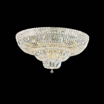 Petit Deluxe Down Light Flush Mount Size / Finish / Crystal Grade: 21 H x 48 W x 48 D / Silver / Gemcut Clear