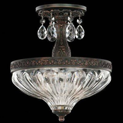Milano 2-Light Semi Flush Mount Finish: Antique Silver, Crystal Grade: Spectra Clear