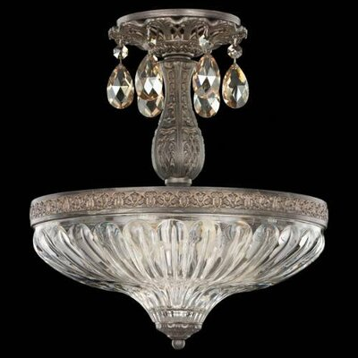 Milano 3-Light Semi Flush Mount Base Finish: Antique Silver, Shade Color: Strass Clear