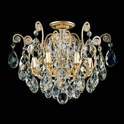 Renaissance 6-Light Semi Flush Mount Finish / Crystal Grade: Antique Silver / Strass Golden Teak