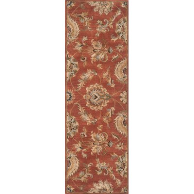 Serene Hand-Woven Wool Rust Area Rug Rug Size: Runner 26 x 10