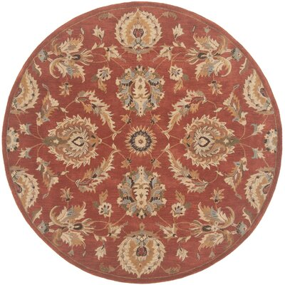 Serene Hand-Woven Wool Rust Area Rug Rug Size: Round 4