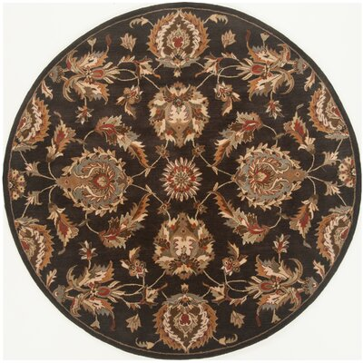 Serene Hand-Woven Wool Black Area Rug Rug Size: Round 4