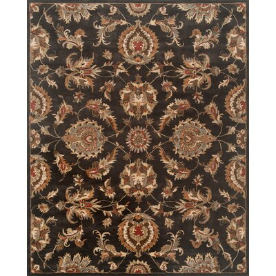 Serene Hand-Woven Wool Black Area Rug Rug Size: Rectangle 96 x 136