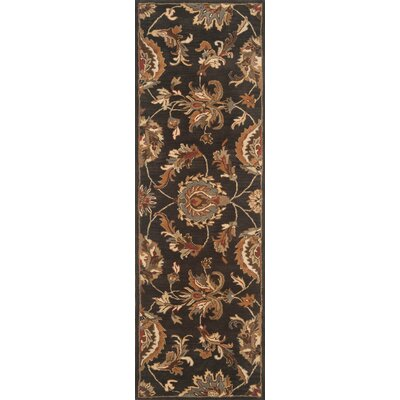 Serene Hand-Woven Wool Black Area Rug Rug Size: Rectangle 2 x 3
