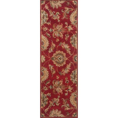 Serene Handmade Red Area Rug Rug Size: Rectangle 36 x 56