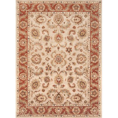 Meadow View Handmade Beige/Rust Area Rug Rug Size: 36 x 56