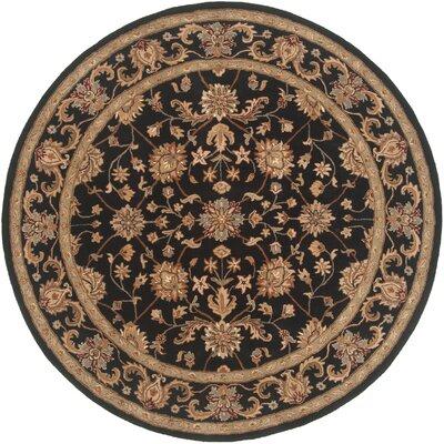 Serene Handmade Black Area Rug Rug Size: Round 4