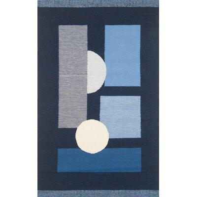 Nouveau Hand-Woven Blue Area Rug Rug Size: 5 x 8