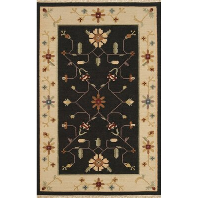JiJum Black Border Hand Knotted Wool Area Rug Rug Size: Rectangle 5 x 8