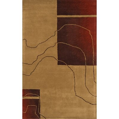Edge Camel/Red Area Rug Rug Size: 5 x 8