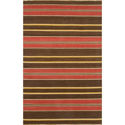 City Stripes Red / Brown Area Rug Rug Size: 5 x 8
