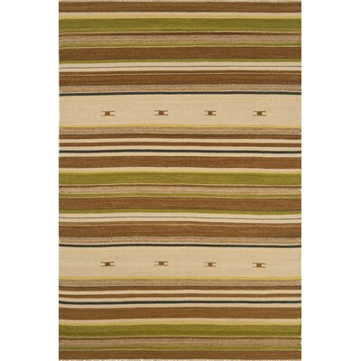 City Stripes Beige / Green Area Rug Rug Size: 5 x 8