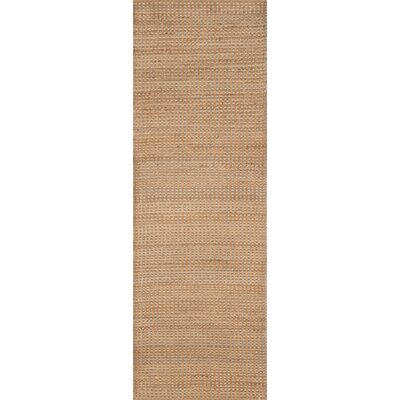 Jute Hand-Woven Tan Area Rug Rug Size: Runner 26 x 8