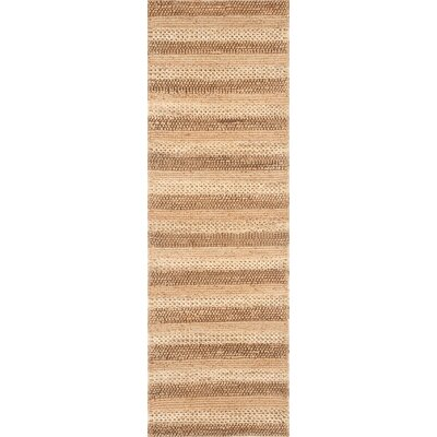 Jute Hand-Woven Natural Striped Area Rug Rug Size: Runner 26 x 8