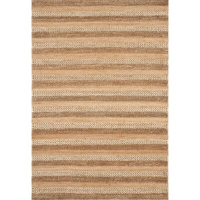 Jute Hand-Woven Natural Striped Area Rug Rug Size: 36 x 56