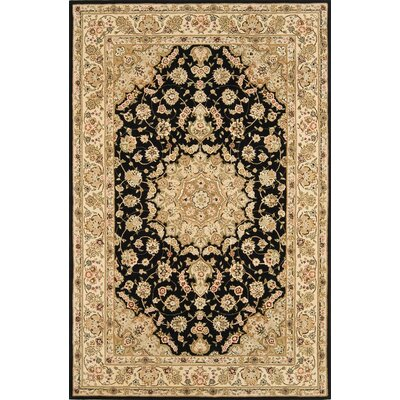 Silk Pearl Black/Light Gold Area Rug Rug Size: Round 6