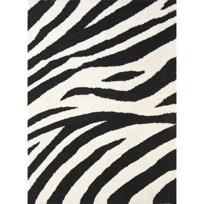 Cloud Ivory / Black Area Rug Rug Size: 19 x 26