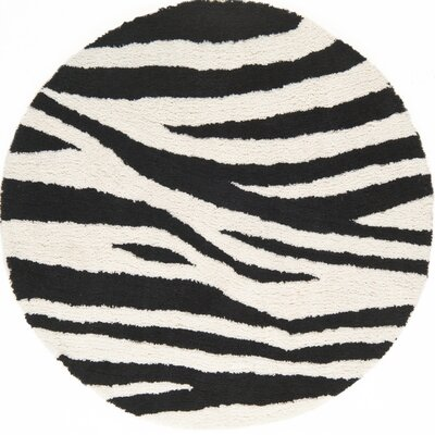 Cloud Ivory / Black Area Rug Rug Size: Round 5