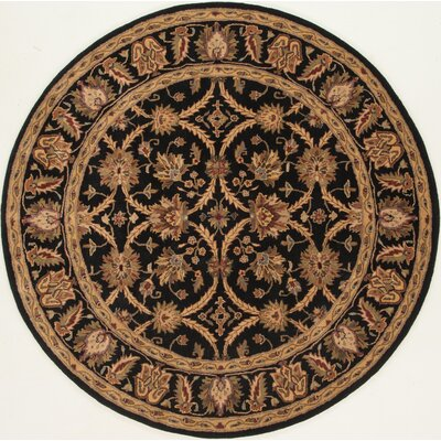 Meadow View Handmade Black/Black Area Rug Rug Size: Round 36