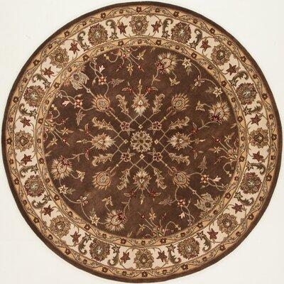 Serene Handmade Chocolate/Ivory Area Rug Rug Size: Round 79