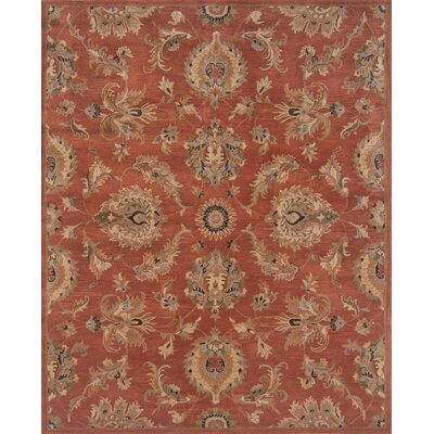 Serene Hand-Woven Wool Rust Area Rug Rug Size: Rectangle 5 x 76