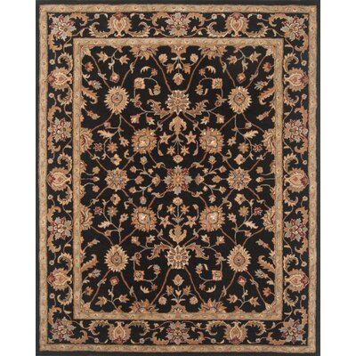 Serene Handmade Black Area Rug Rug Size: Rectangle 5 x 76