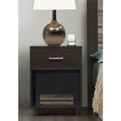 Chicopee Wood 1 Drawer Nightstand Finish: Espresso
