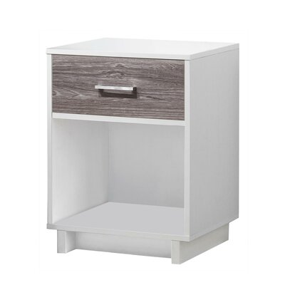 Chappell 1 Drawer Nightstand Finish: White/Rustic Medium Oak