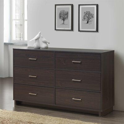 Chicopee Modern 6 Drawer Dresser Color: Espresso