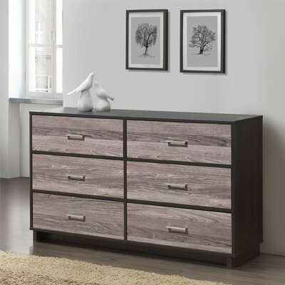 Chicopee Wood 6 Drawer Dresser Color: Espresso/Rustic