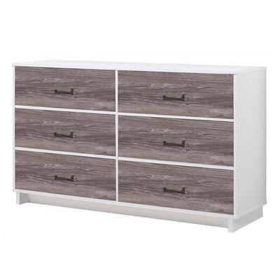 Chappell 6 Drawer Dresser Finish: White/Rustic Medium Oak