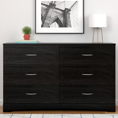 Kourtney 6 Drawer Dresser Finish: Black