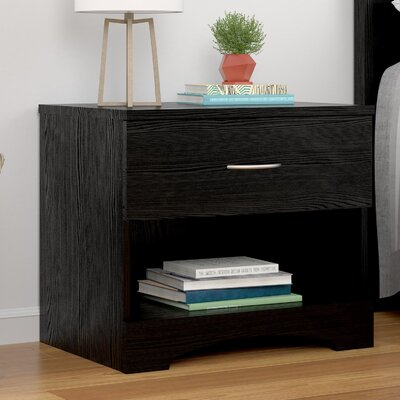 Poulson 1 Drawer Nightstand Finish: Black