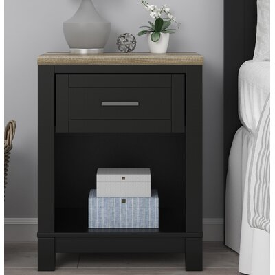 Callowhill 1 Drawer Nightstand Finish: Black