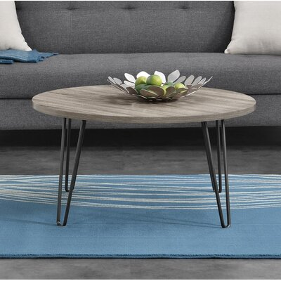 Bronstein Retro Round Coffee Table Color: Weathered Oak