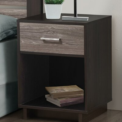 Chicopee 1 Drawer Nightstand Color: Espresso/Rustic