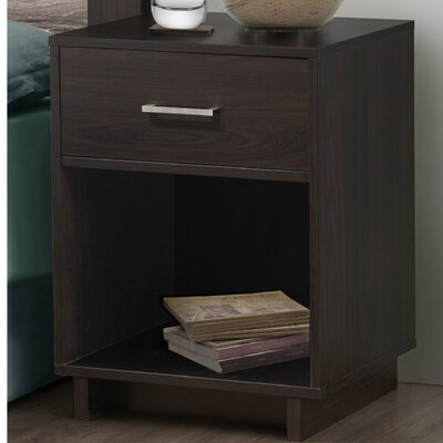Chicopee Wood 1 Drawer Nightstand Color: Espresso