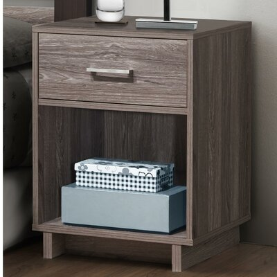 Chicopee Wood 1 Drawer Nightstand Color: Rustic