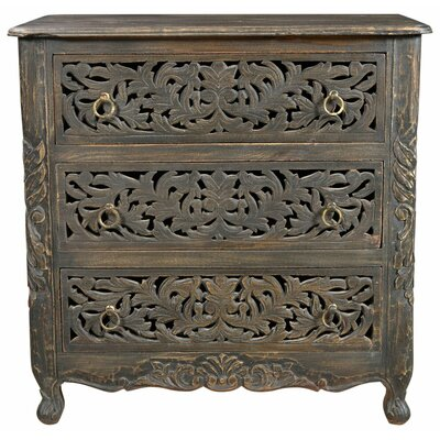 Buena Park Carved 3 Drawer Nightstand Color: Antique Black